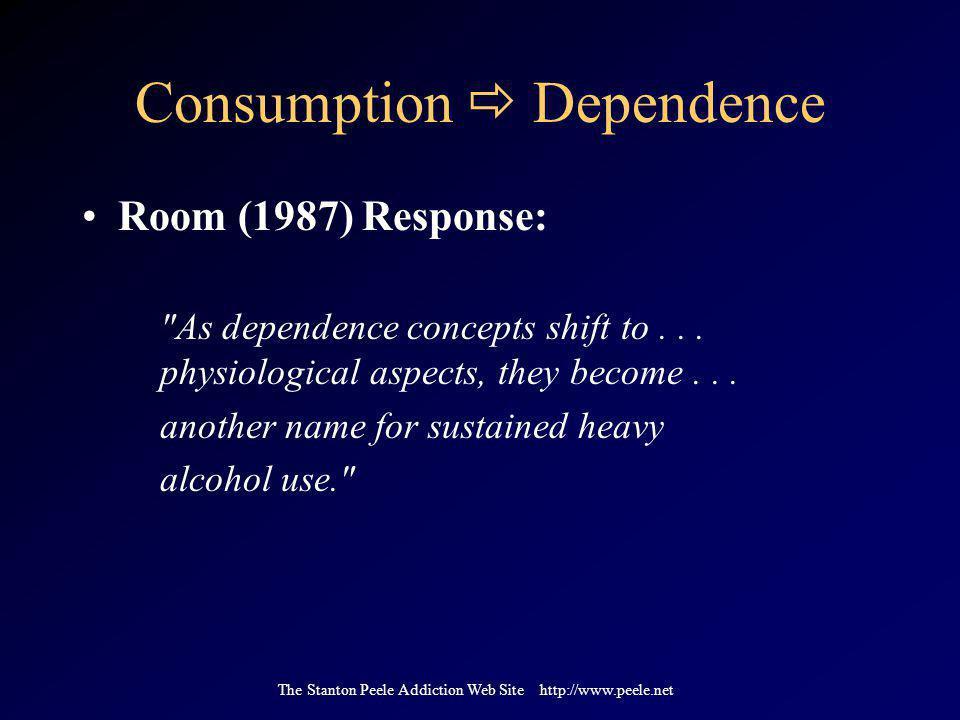The Stanton Peele Addiction Web Site http://www.peele.net Consumption  Dependence Room (1987) Response: