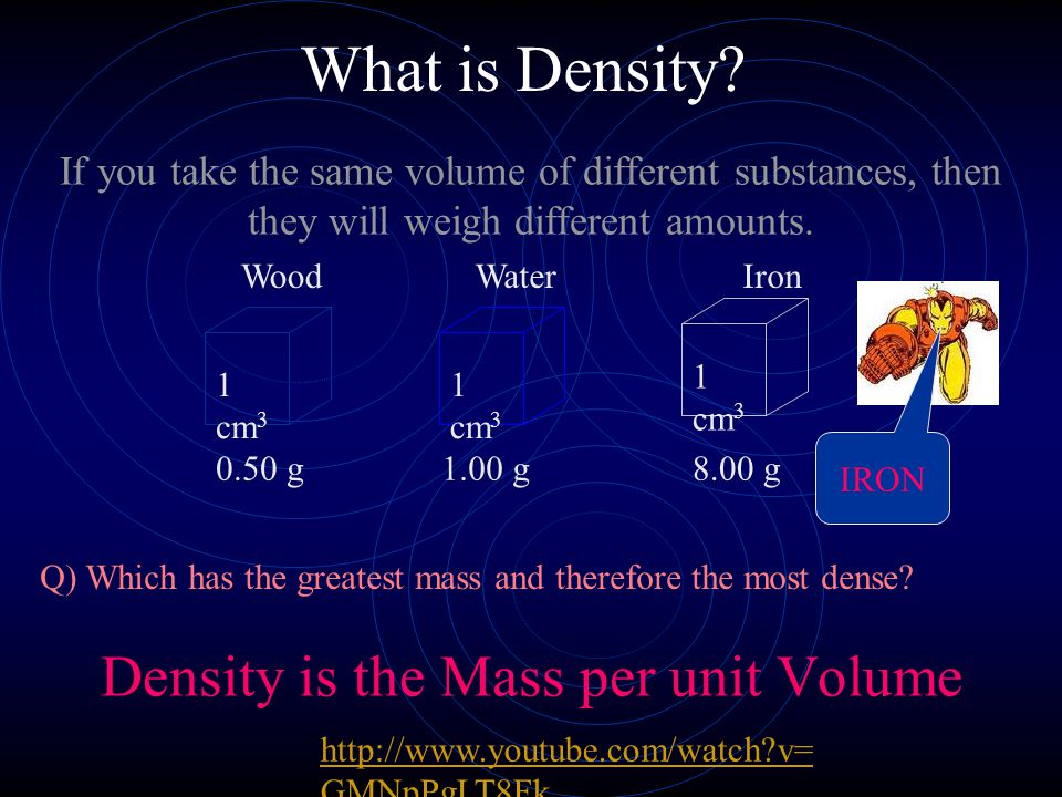 What is Density? Density is the Mass per unit Volume WoodWaterIron 1 cm 3 1 cm 3 1 cm 3 If you take the same volume of different substances, then they