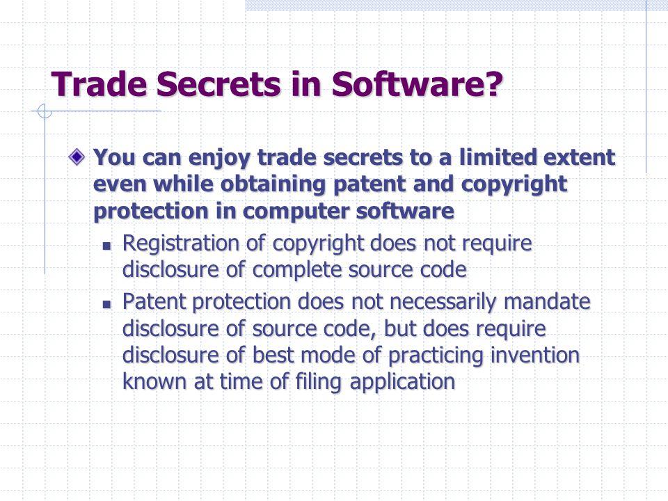 Trade Secrets in Software.