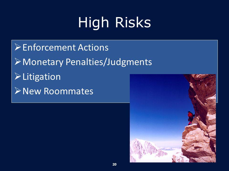 High Risks  Enforcement Actions  Monetary Penalties/Judgments  Litigation  New Roommates 20
