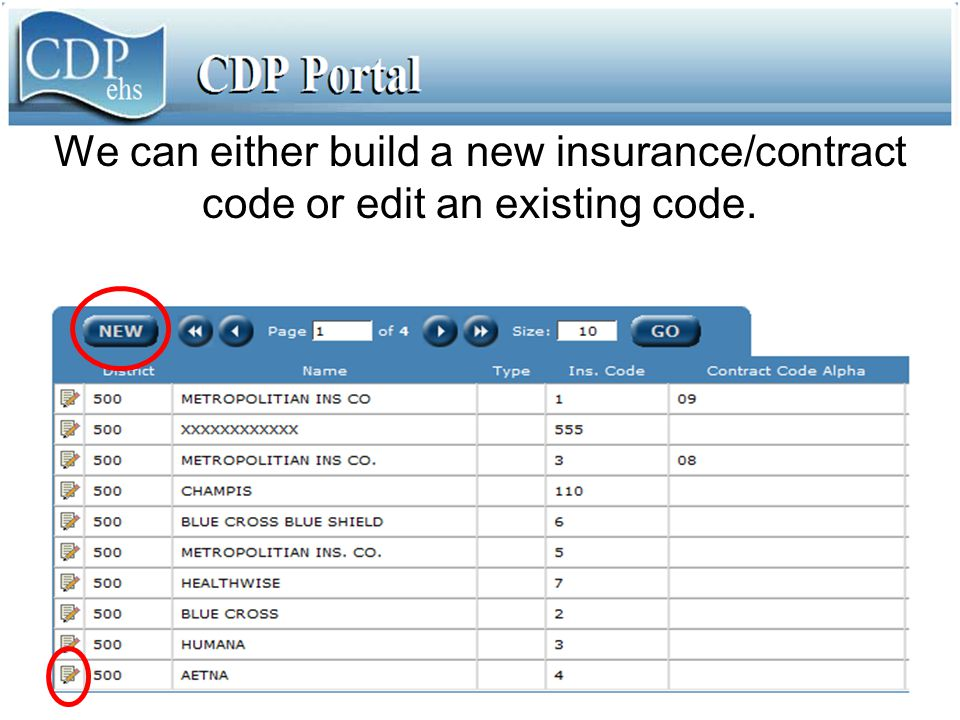 We can either build a new insurance/contract code or edit an existing code.