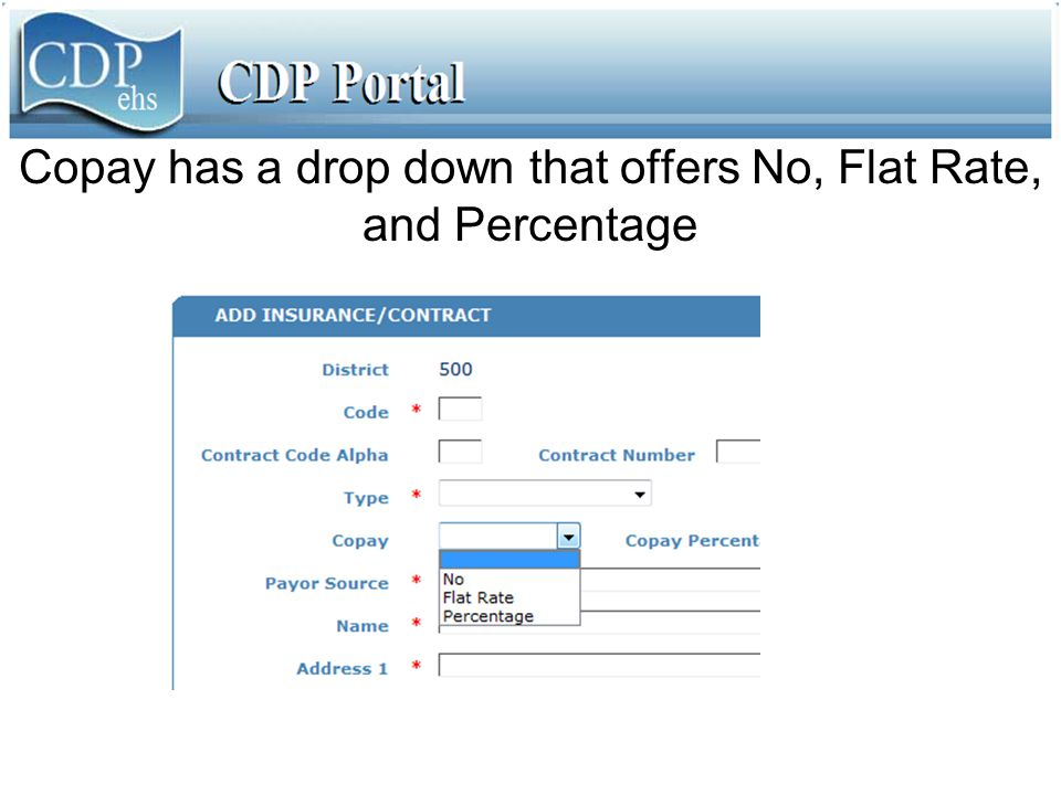 Copay has a drop down that offers No, Flat Rate, and Percentage