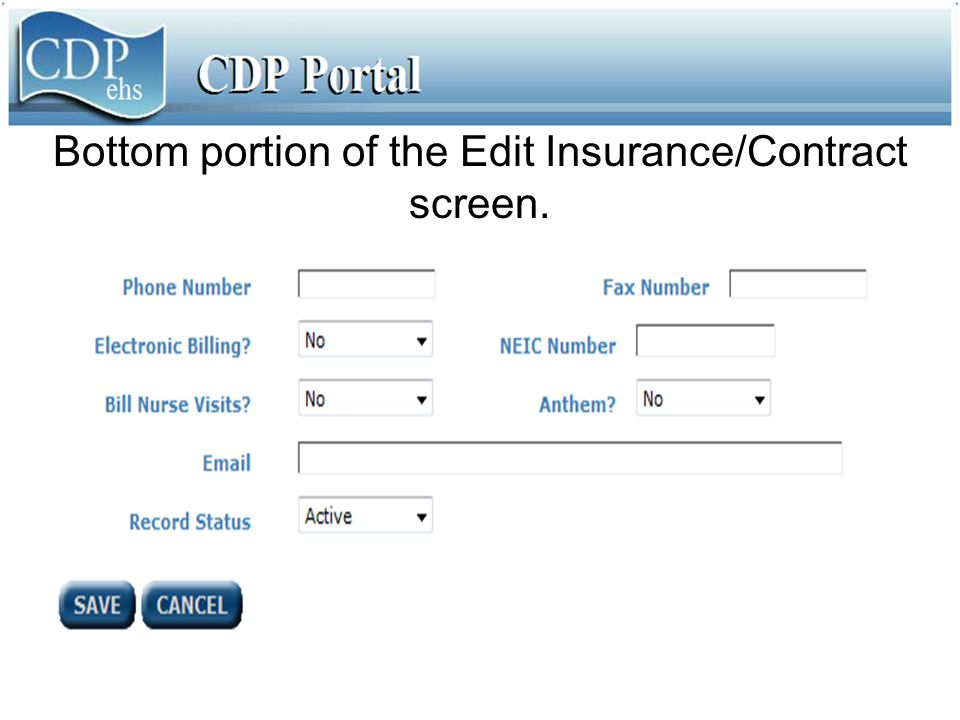 Bottom portion of the Edit Insurance/Contract screen.
