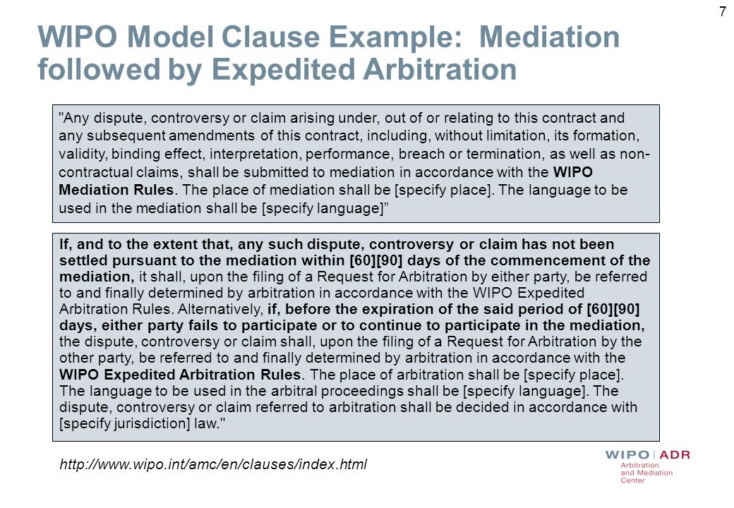 7 WIPO Model Clause Example: Mediation followed by Expedited Arbitration