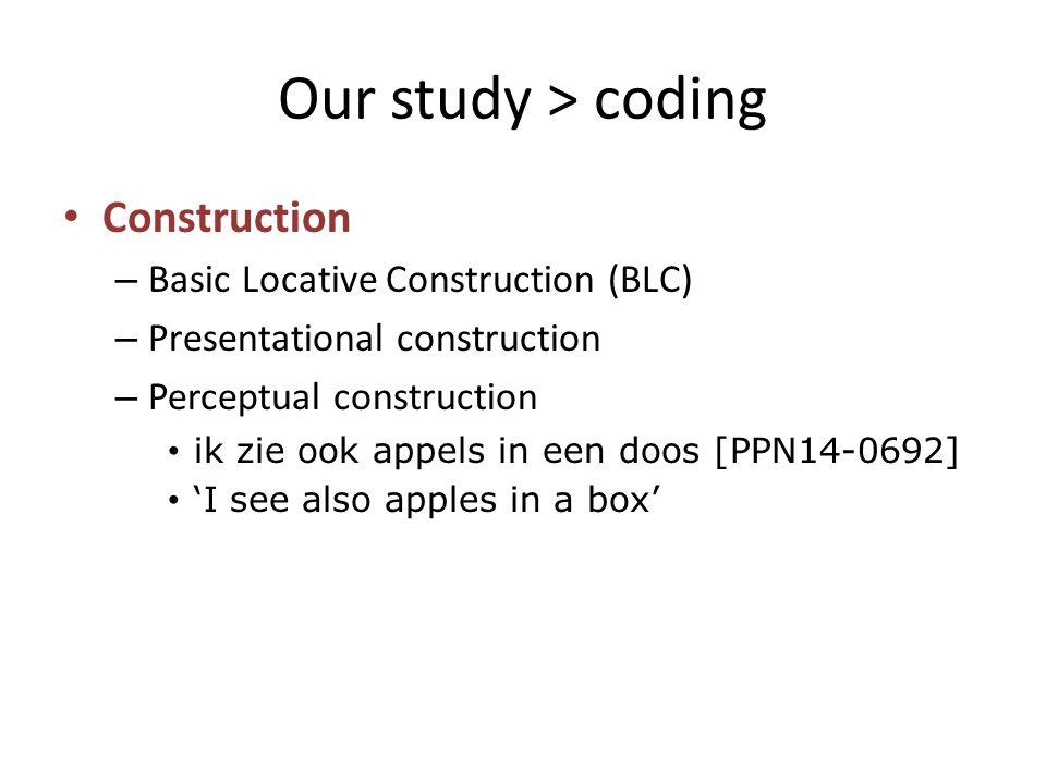 Our study > coding Construction – Basic Locative Construction (BLC) – Presentational construction – Perceptual construction ik zie ook appels in een d
