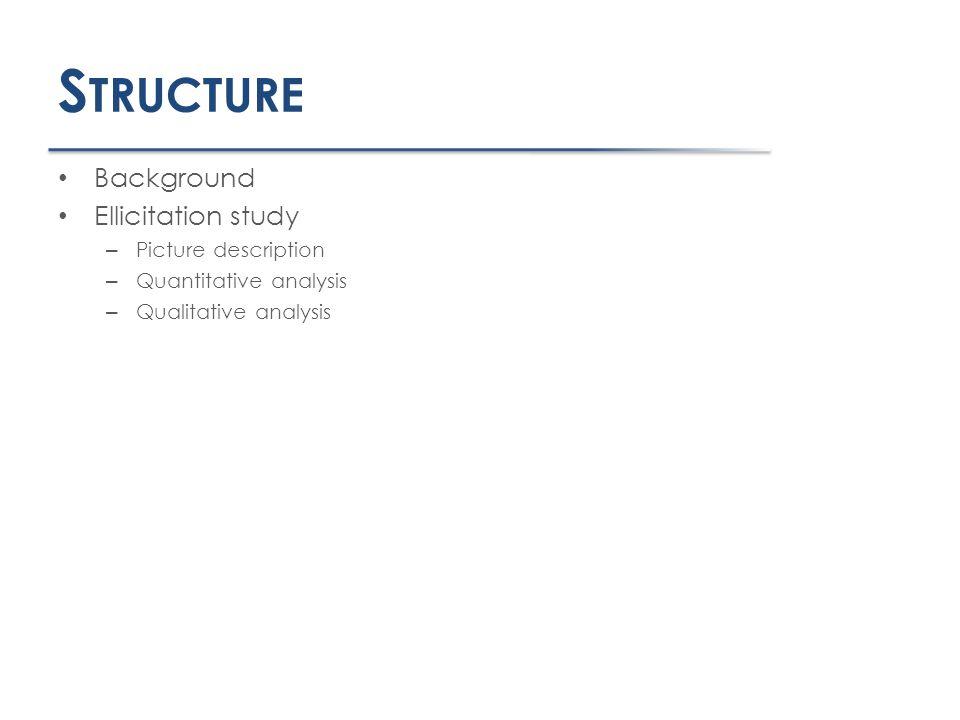 S TRUCTURE Background Ellicitation study – Picture description – Quantitative analysis – Qualitative analysis