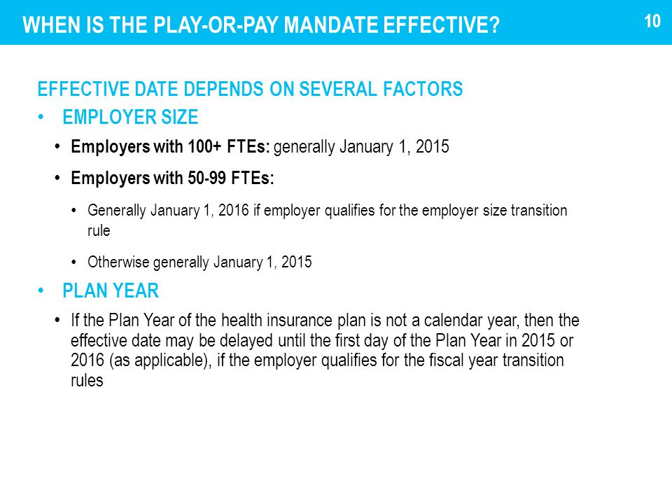 WHEN IS THE PLAY-OR-PAY MANDATE EFFECTIVE.