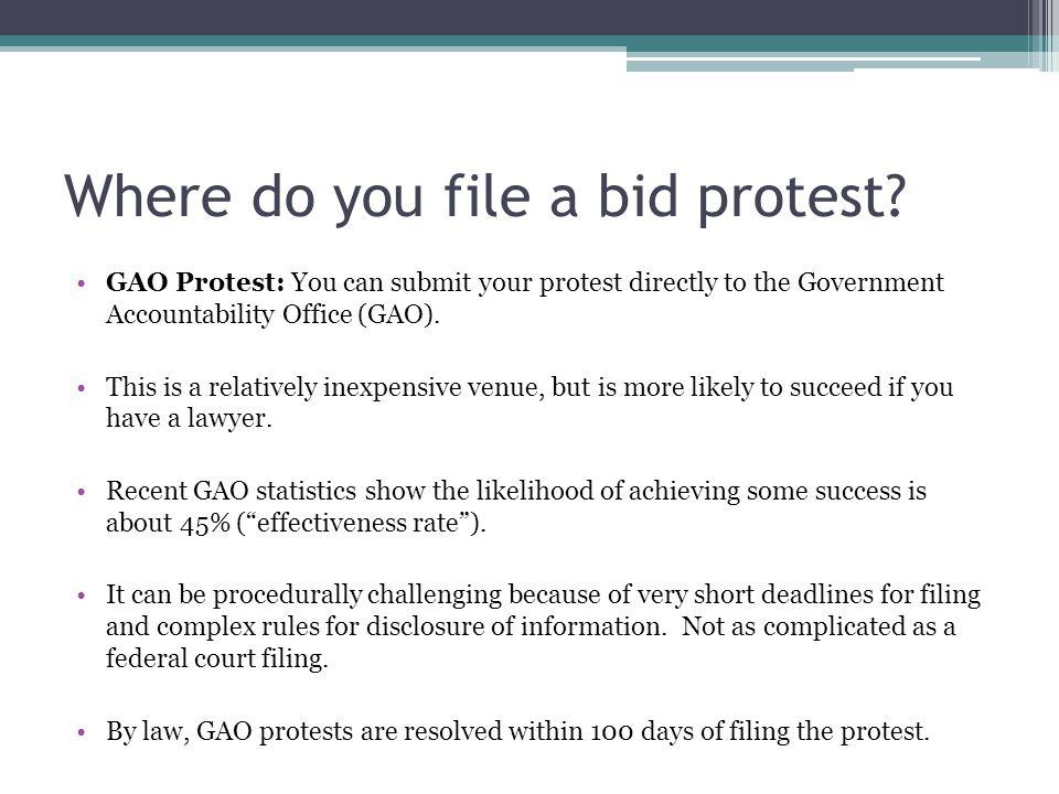 Where do you file a bid protest.