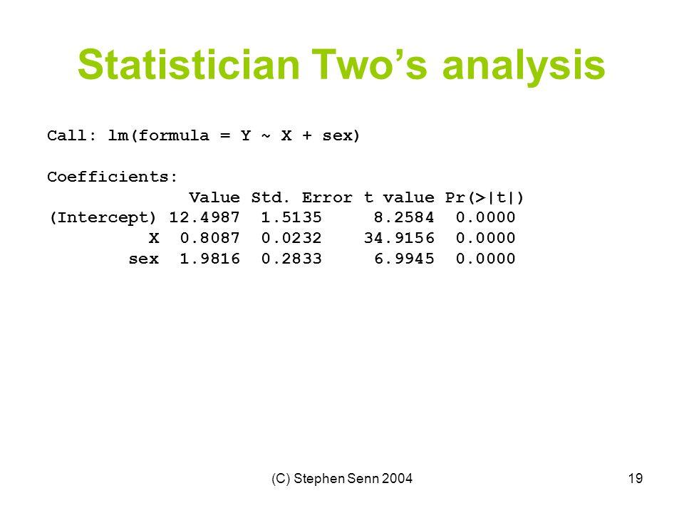 (C) Stephen Senn 200419 Statistician Two's analysis Call: lm(formula = Y ~ X + sex) Coefficients: Value Std.
