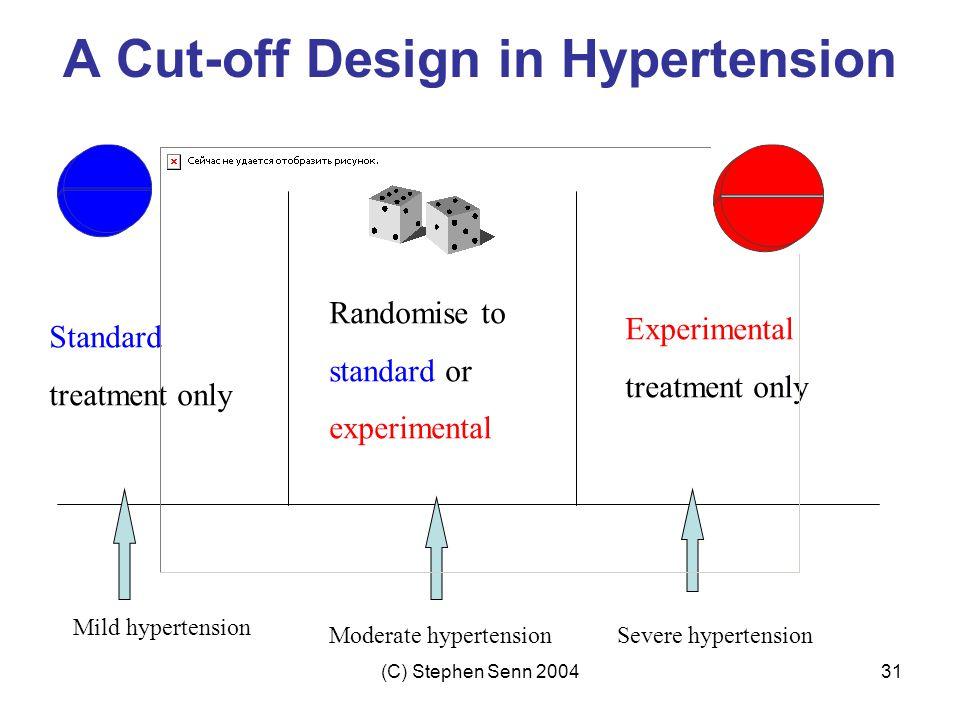 (C) Stephen Senn 200431 Randomise to standard or experimental Experimental treatment only Standard treatment only Severe hypertensionModerate hypertension Mild hypertension A Cut-off Design in Hypertension