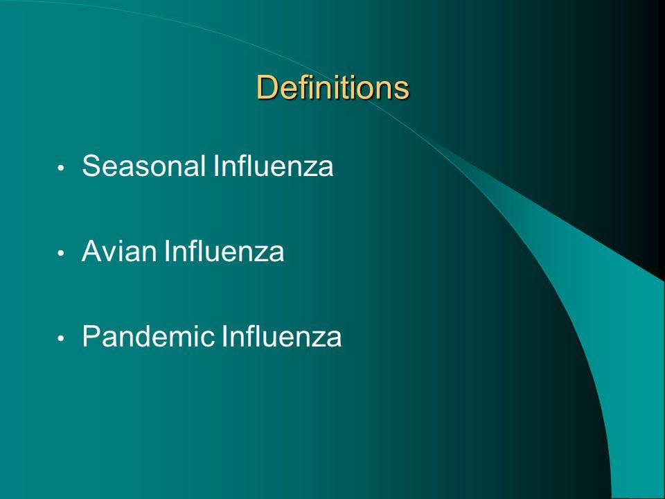 Definitions Seasonal Influenza Avian Influenza Pandemic Influenza
