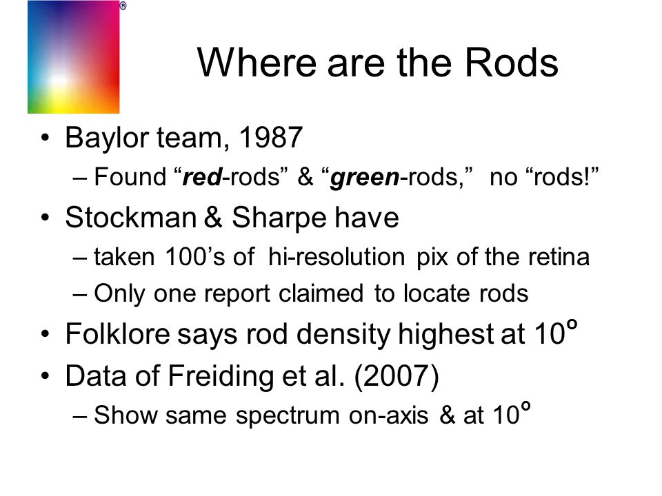 "Where are the Rods Baylor team, 1987 –Found ""red-rods"" & ""green-rods,"" no ""rods!"" Stockman & Sharpe have –taken 100's of hi-resolution pix of the reti"