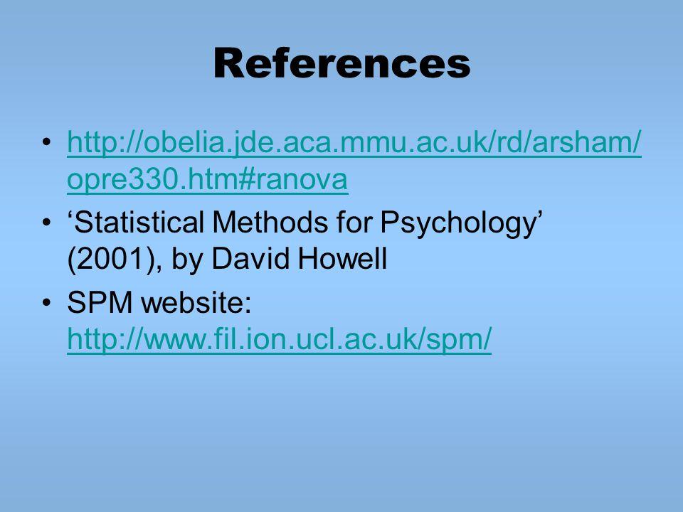 References http://obelia.jde.aca.mmu.ac.uk/rd/arsham/ opre330.htm#ranovahttp://obelia.jde.aca.mmu.ac.uk/rd/arsham/ opre330.htm#ranova 'Statistical Methods for Psychology' (2001), by David Howell SPM website: http://www.fil.ion.ucl.ac.uk/spm/ http://www.fil.ion.ucl.ac.uk/spm/