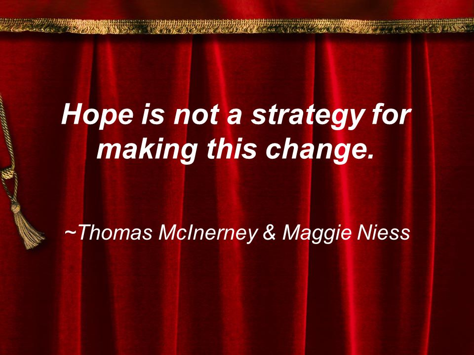 Hope is not a strategy for making this change. ~Thomas McInerney & Maggie Niess