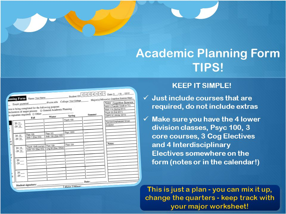 Academic Planning Form TIPS. KEEP IT SIMPLE.