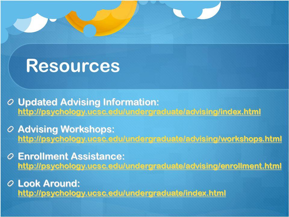 Resources Updated Advising Information: http://psychology.ucsc.edu/undergraduate/advising/index.html http://psychology.ucsc.edu/undergraduate/advising/index.html Advising Workshops: http://psychology.ucsc.edu/undergraduate/advising/workshops.html http://psychology.ucsc.edu/undergraduate/advising/workshops.html Enrollment Assistance: http://psychology.ucsc.edu/undergraduate/advising/enrollment.html http://psychology.ucsc.edu/undergraduate/advising/enrollment.html Look Around: http://psychology.ucsc.edu/undergraduate/index.html http://psychology.ucsc.edu/undergraduate/index.html