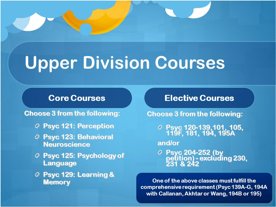 Upper Division Courses Core Courses Choose 3 from the following: Psyc 121: Perception Psyc 123: Behavioral Neuroscience Psyc 125: Psychology of Language Psyc 129: Learning & Memory Elective Courses Choose 3 from the following: Psyc 120-139,101, 105, 119F, 181, 194, 195A and/or Psyc 204-252 (by petition) - excluding 230, 231 & 242 One of the above classes must fulfill the comprehensive requirement (Psyc 139A-G, 194A with Callanan, Akhtar or Wang, 194B or 195)