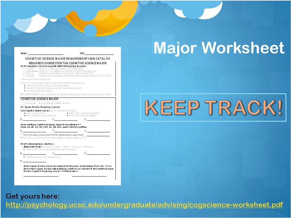 Major Worksheet Get yours here: http://psychology.ucsc.edu/undergraduate/advising/cogscience-worksheet.pdf