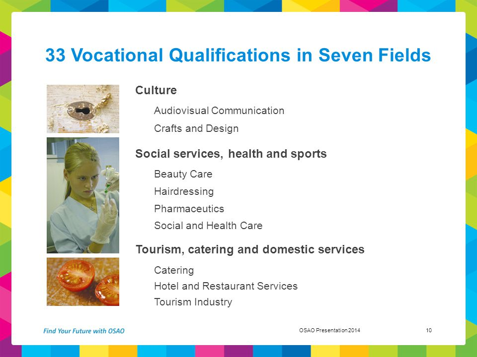 33 Vocational Qualifications in Seven Fields Culture Audiovisual Communication Crafts and Design Social services, health and sports Beauty Care Hairdr