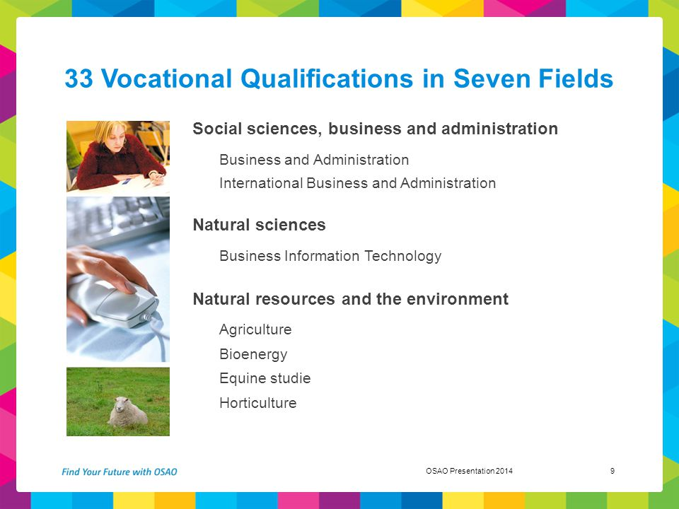 33 Vocational Qualifications in Seven Fields Social sciences, business and administration Business and Administration International Business and Admin