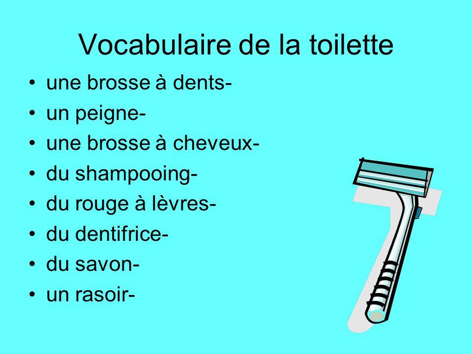 Vocabulaire de la toilette une brosse à dents- un peigne- une brosse à cheveux- du shampooing- du rouge à lèvres- du dentifrice- du savon- un rasoir-