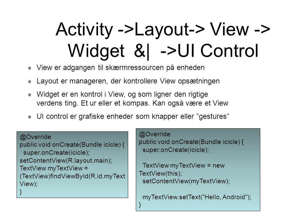 Activity ->Layout-> View -> Widget &| ->UI Control View er adgangen til skærmressourcen på enheden Layout er manageren, der kontrollere View opsætning