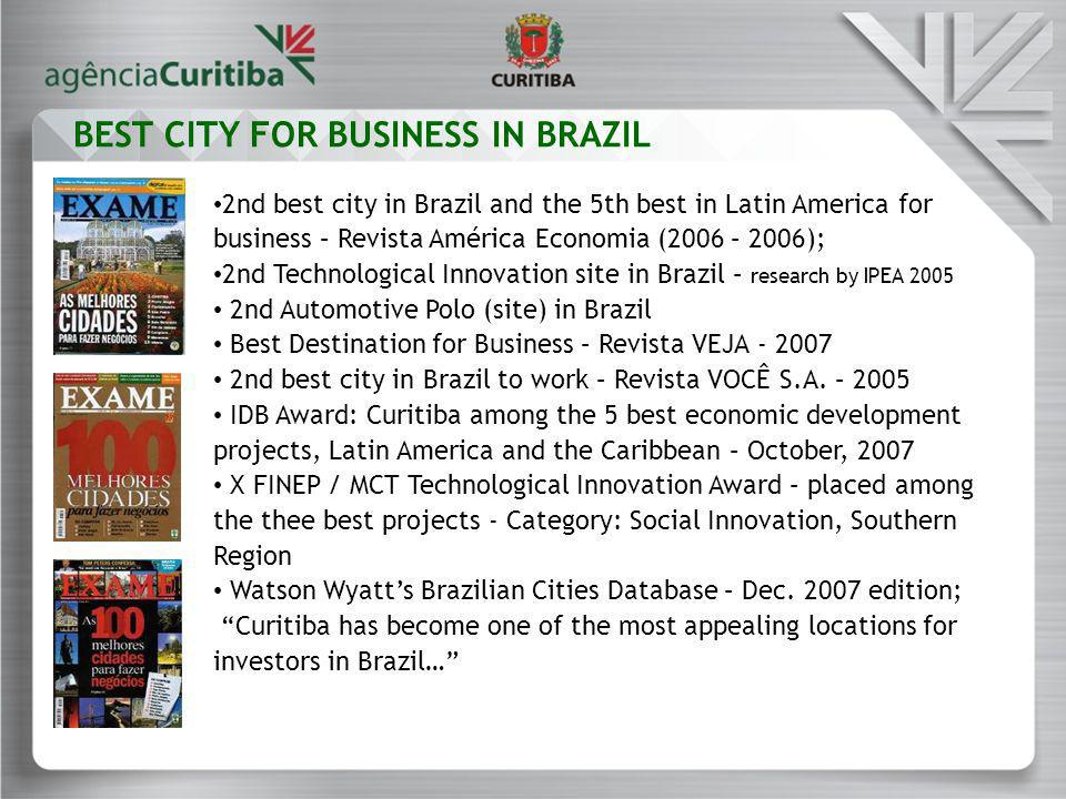 2nd best city in Brazil and the 5th best in Latin America for business – Revista América Economia (2006 – 2006); 2nd Technological Innovation site in