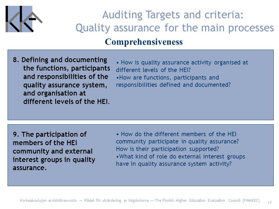 Korkeakoulujen arviointineuvosto — Rådet för utvärdering av högskolorna — The Finnish Higher Education Evaluation Council (FINHEEC) 17 8.