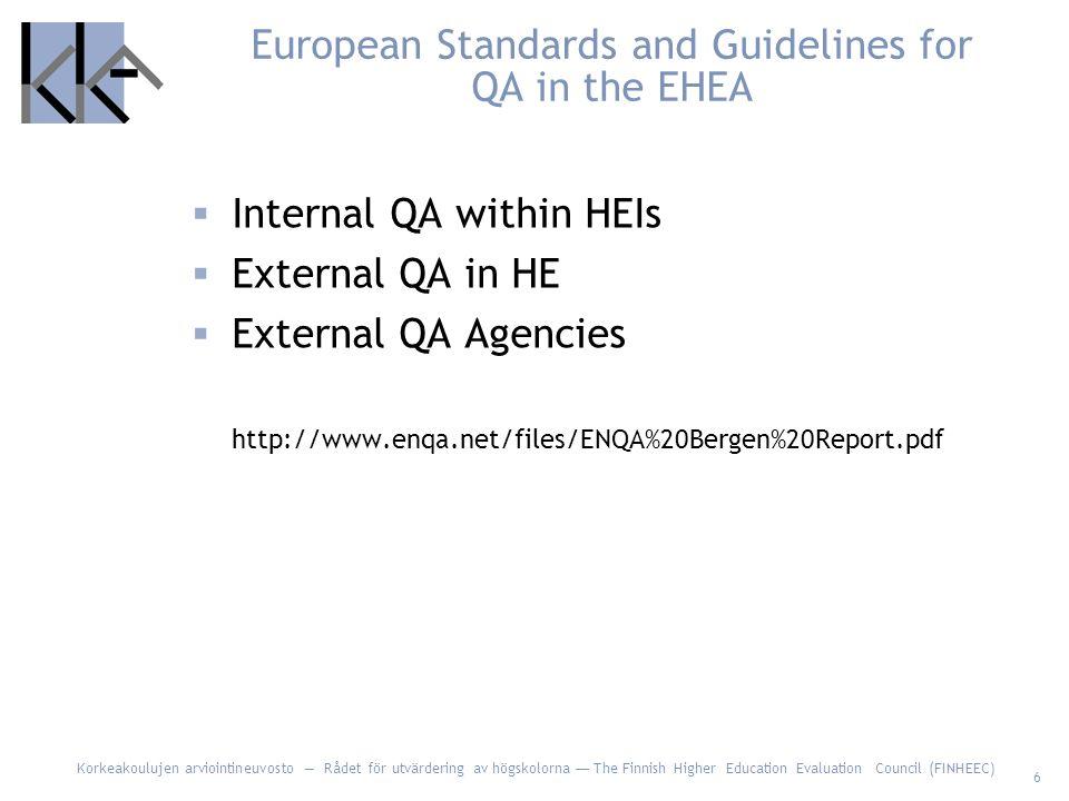 Korkeakoulujen arviointineuvosto — Rådet för utvärdering av högskolorna — The Finnish Higher Education Evaluation Council (FINHEEC) 6 European Standards and Guidelines for QA in the EHEA  Internal QA within HEIs  External QA in HE  External QA Agencies http://www.enqa.net/files/ENQA%20Bergen%20Report.pdf