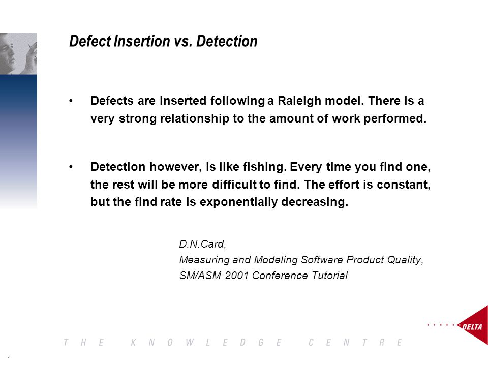 3 Defect Insertion vs. Detection Defects are inserted following a Raleigh model.