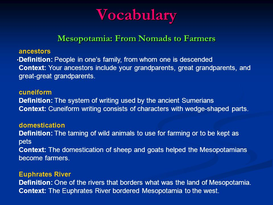 Questions Mesopotamia: The Development of Written Language 1.