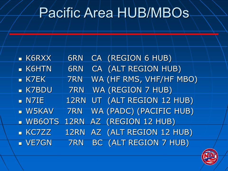 Pacific Area HUB/MBOs K6RXX 6RN CA (REGION 6 HUB) K6RXX 6RN CA (REGION 6 HUB) K6HTN 6RN CA (ALT REGION HUB) K6HTN 6RN CA (ALT REGION HUB) K7EK 7RN WA (HF RMS, VHF/HF MBO) K7EK 7RN WA (HF RMS, VHF/HF MBO) K7BDU 7RN WA (REGION 7 HUB) K7BDU 7RN WA (REGION 7 HUB) N7IE 12RN UT (ALT REGION 12 HUB) N7IE 12RN UT (ALT REGION 12 HUB) W5KAV 7RN WA (PADC) (PACIFIC HUB) W5KAV 7RN WA (PADC) (PACIFIC HUB) WB6OTS 12RN AZ (REGION 12 HUB) WB6OTS 12RN AZ (REGION 12 HUB) KC7ZZ 12RN AZ (ALT REGION 12 HUB) KC7ZZ 12RN AZ (ALT REGION 12 HUB) VE7GN 7RN BC (ALT REGION 7 HUB) VE7GN 7RN BC (ALT REGION 7 HUB)