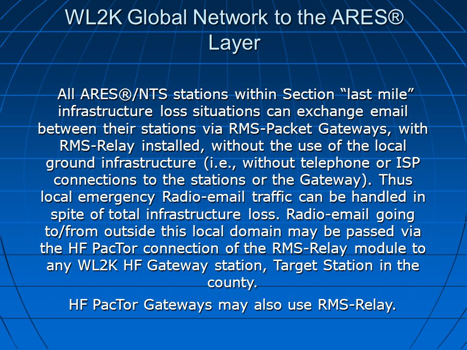 "WL2K Global Network to the ARES® Layer All ARES®/NTS stations within Section ""last mile"" infrastructure loss situations can exchange email between the"