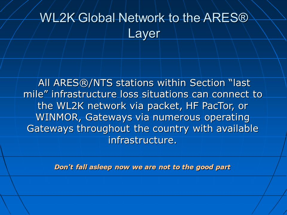 "WL2K Global Network to the ARES® Layer All ARES®/NTS stations within Section ""last mile"" infrastructure loss situations can connect to the WL2K networ"