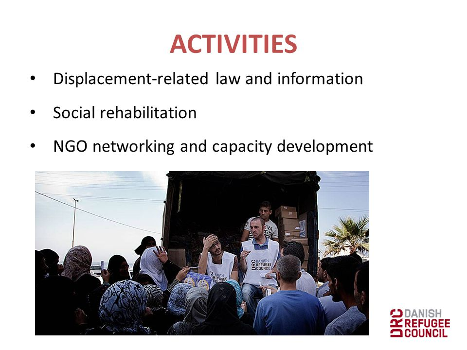 Humanitarian mine action Information management and coordination Emergency logistics and transport management ACTIVITIES