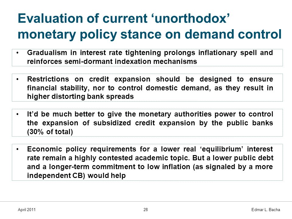April 201128 Edmar L. Bacha Evaluation of current 'unorthodox' monetary policy stance on demand control Gradualism in interest rate tightening prolong