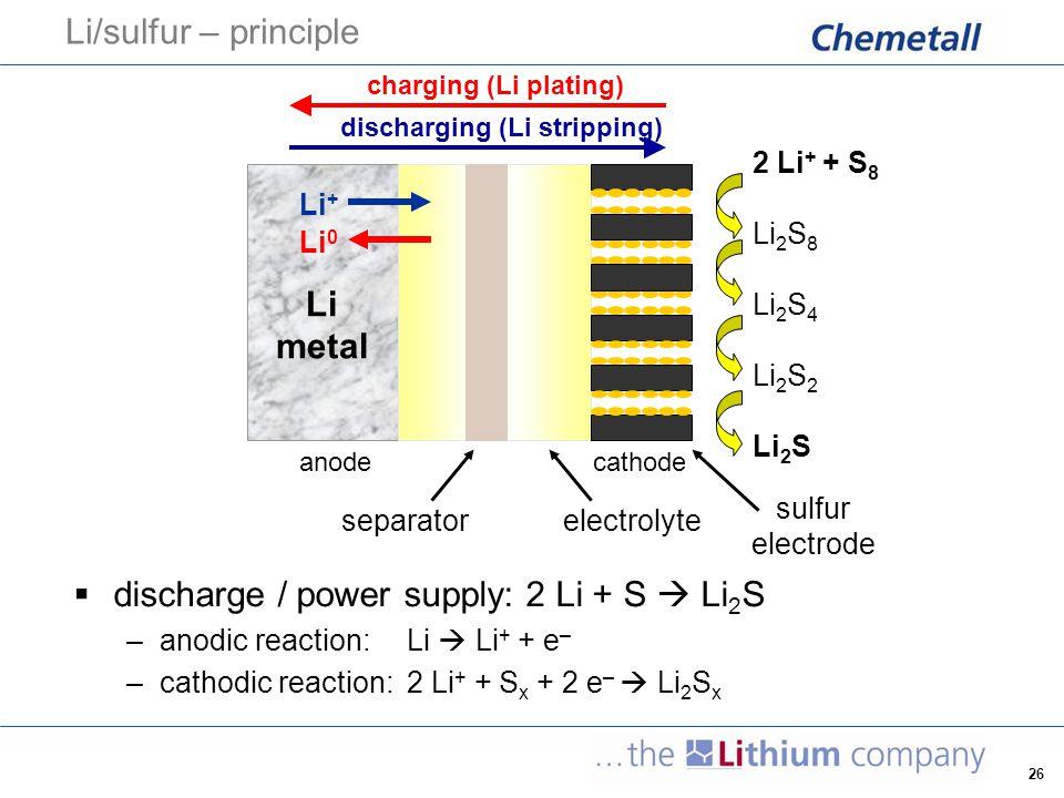 26 Li/sulfur – principle  discharge / power supply: 2 Li + S  Li 2 S –anodic reaction: Li  Li + + e – –cathodic reaction: 2 Li + + S x + 2 e –  Li
