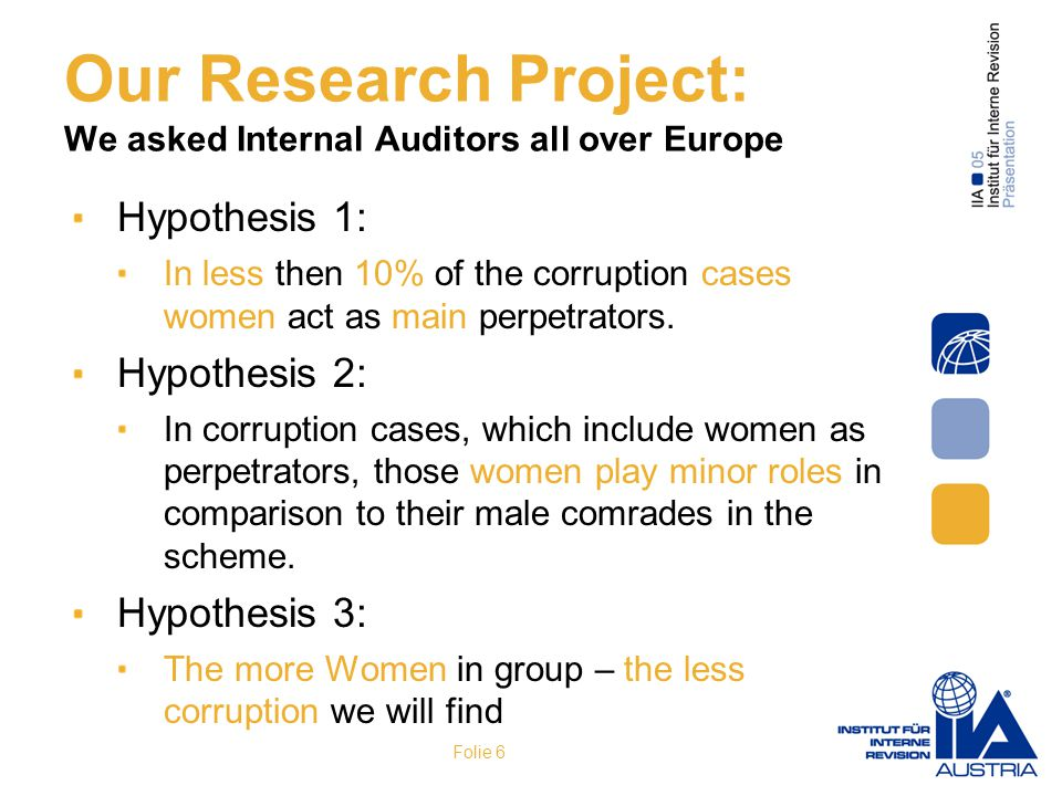 Our Research Project: We asked Internal Auditors all over Europe Hypothesis 1: In less then 10% of the corruption cases women act as main perpetrators.