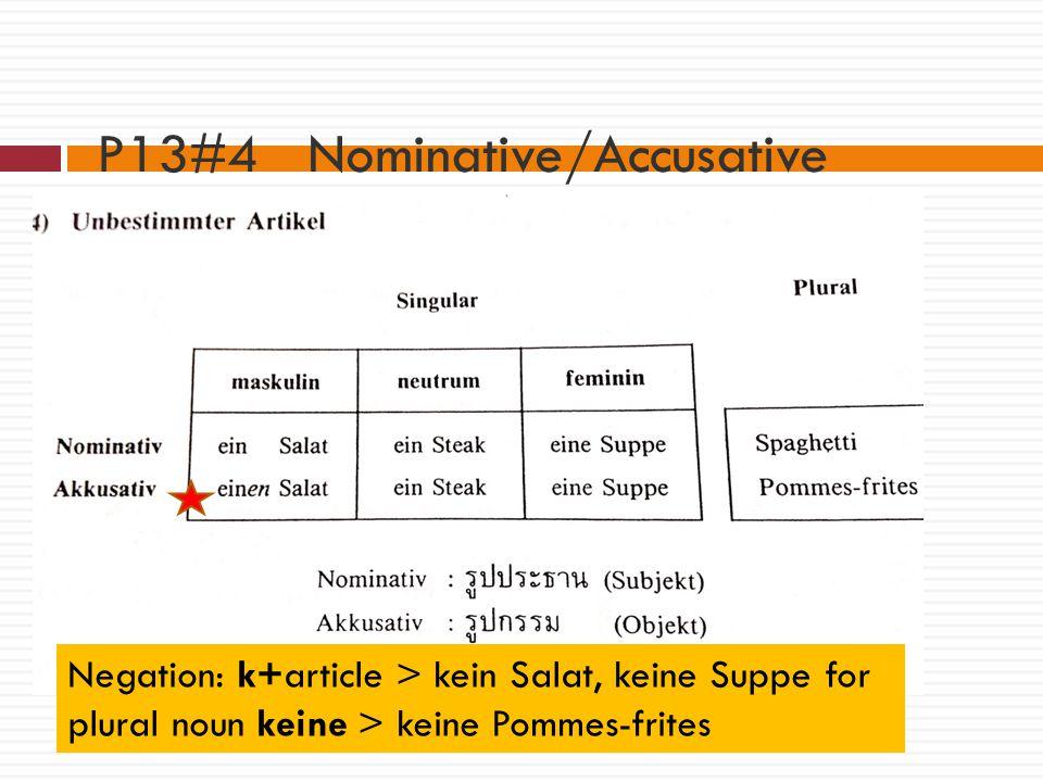 P13#4 Nominative/Accusative Indefinite articles: Negation: k+article > kein Salat, keine Suppe for plural noun keine > keine Pommes-frites