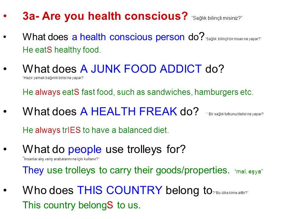 3a- Are you health conscious. Sağlık bilinçli misiniz What does a health conscious person do .
