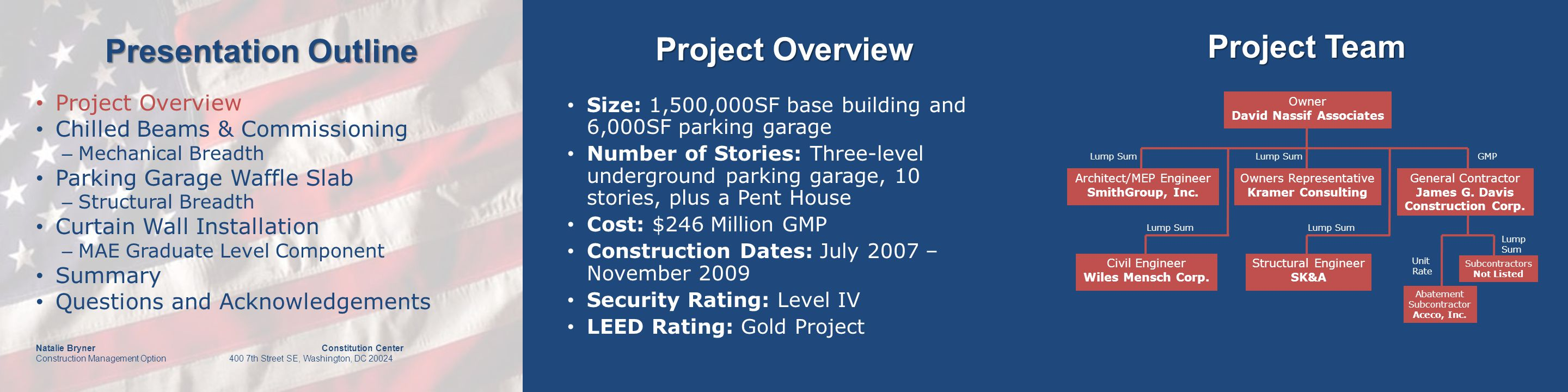 Presentation Outline Natalie Bryner Constitution Center Construction Management Option 400 7th Street SE, Washington, DC 20024 Productivity Project Overview Chilled Beams & Commissioning – Mechanical Breadth Parking Garage Waffle Slab – Structural Breadth Curtain Wall Installation – MAE Graduate Level Component Summary Questions and Acknowledgements