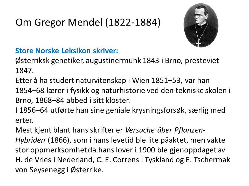 Om Gregor Mendel (1822-1884) Store Norske Leksikon skriver: Østerriksk genetiker, augustinermunk 1843 i Brno, presteviet 1847.