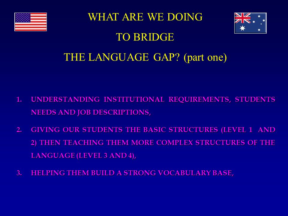 1.UNDERSTANDING INSTITUTIONAL REQUIREMENTS, STUDENTS NEEDS AND JOB DESCRIPTIONS, 2.GIVING OUR STUDENTS THE BASIC STRUCTURES (LEVEL 1 AND 2) THEN TEACHING THEM MORE COMPLEX STRUCTURES OF THE LANGUAGE (LEVEL 3 AND 4), 3.HELPING THEM BUILD A STRONG VOCABULARY BASE, WHAT ARE WE DOING TO BRIDGE THE LANGUAGE GAP.