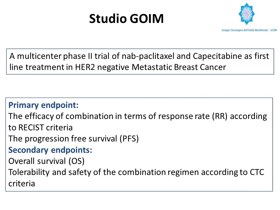 Adapted from STRATEGIES for SELECTING THERAPY in HERNEGATIVE BREAST CANCER, ESMO Vienna 2012, prIME Oncology activity Satellite Symposium ETNA Disegno dello Studio