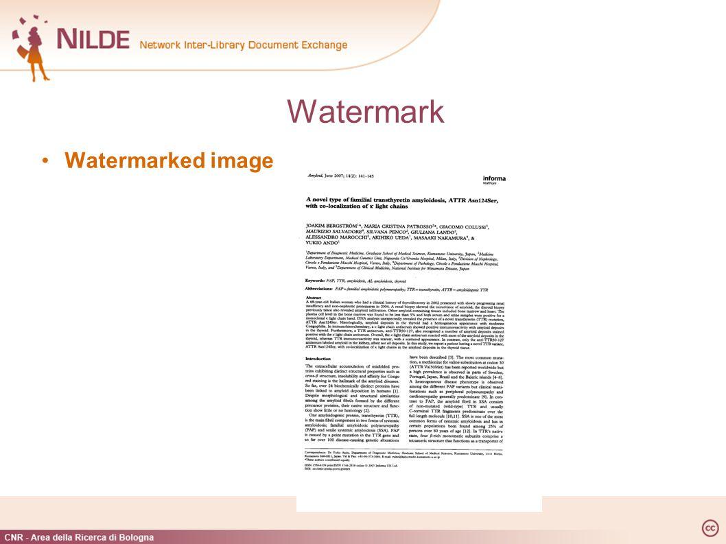 Watermark Watermarked image