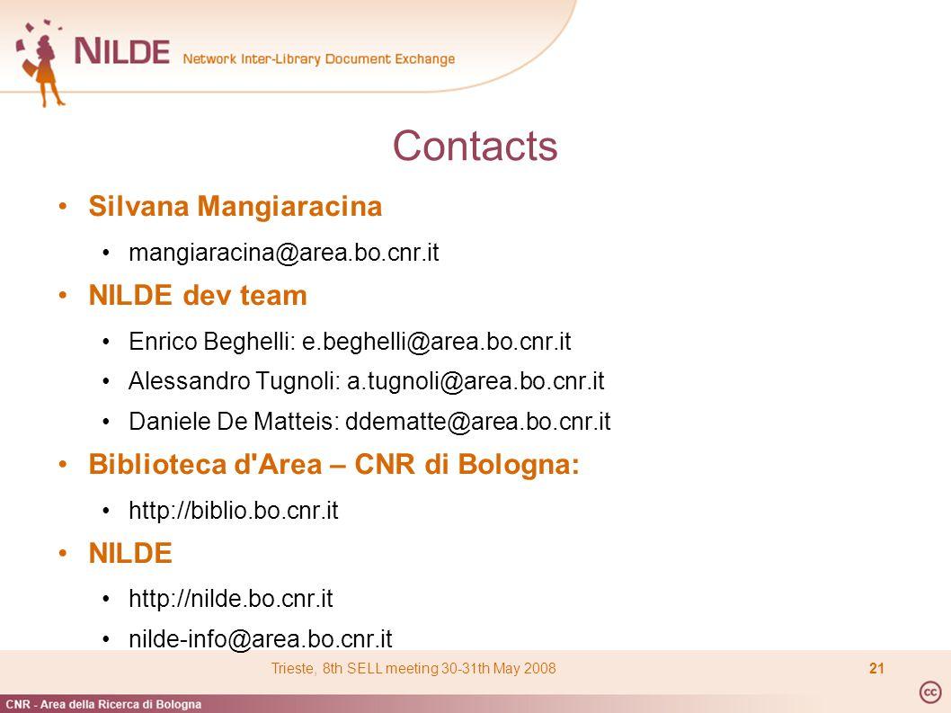 Contacts Silvana Mangiaracina mangiaracina@area.bo.cnr.it NILDE dev team Enrico Beghelli: e.beghelli@area.bo.cnr.it Alessandro Tugnoli: a.tugnoli@area.bo.cnr.it Daniele De Matteis: ddematte@area.bo.cnr.it Biblioteca d Area – CNR di Bologna: http://biblio.bo.cnr.it NILDE http://nilde.bo.cnr.it nilde-info@area.bo.cnr.it Trieste, 8th SELL meeting 30-31th May 200821