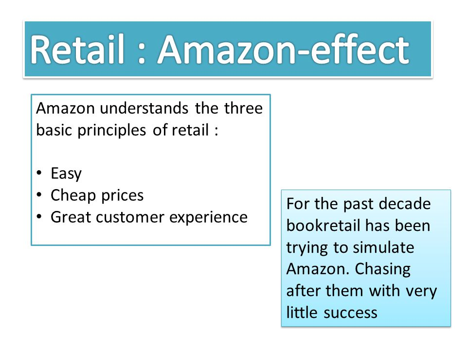 Amazon understands the three basic principles of retail : Easy Cheap prices Great customer experience For the past decade bookretail has been trying to simulate Amazon.