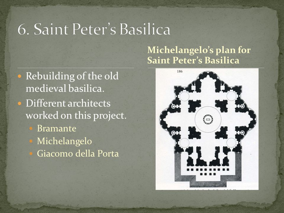 Rebuilding of the old medieval basilica. Different architects worked on this project.