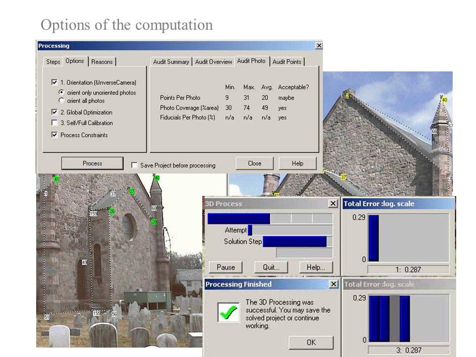 Punti omologhi collimati in numero minimo Options of the computation