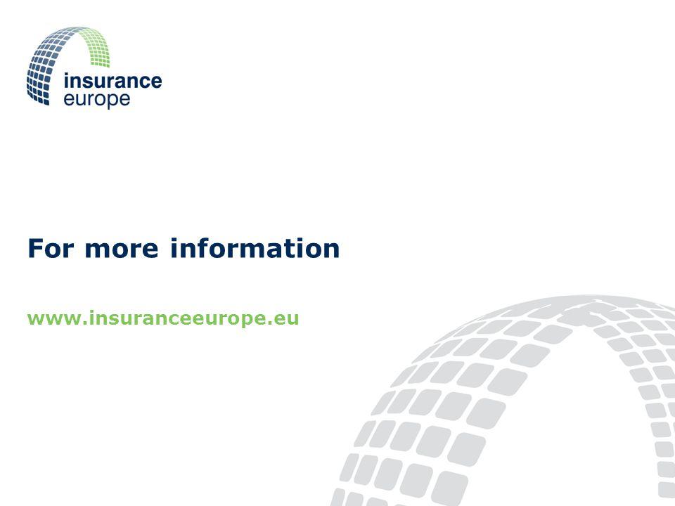 For more information www.insuranceeurope.eu